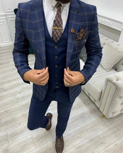 Navy Blue Slim Fit Peak Lapel Plaid Suit for Men by BespokeDailyShop.com with Free Worldwide Shipping