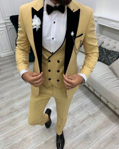 Yellow Slim Fit Velvet Peak Lapel Tuxedo for Men by BespokeDailyShop.com with Free Worldwide Shipping