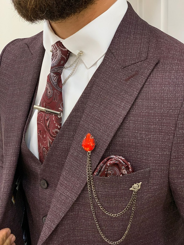 Burgundy Slim Fit Peak Lapel Suit for Men by BespokeDailyShop.com with Free Worldwide Shipping