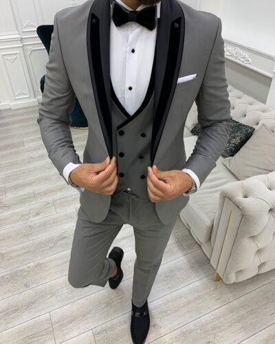 Gray Slim Fit Shawl Lapel Tuxedo for Men by BespokeDailyShop.com with Free Worldwide Shipping