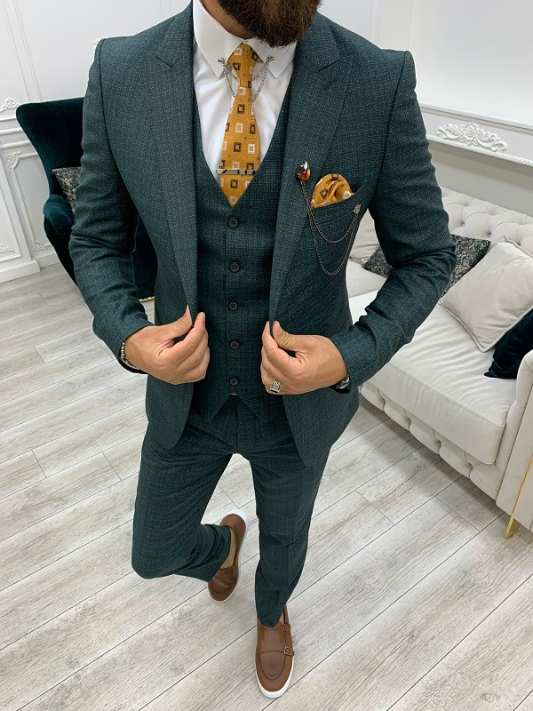 Green Slim Fit Peak Lapel Suit for Men by BespokeDailyShop.com with Free Worldwide Shipping