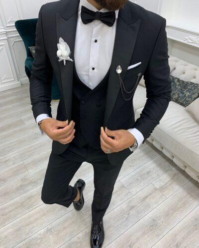 Black Slim Fit Peak Lapel Tuxedo for Men by BespokeDailyShop.com with Free Worldwide Shipping